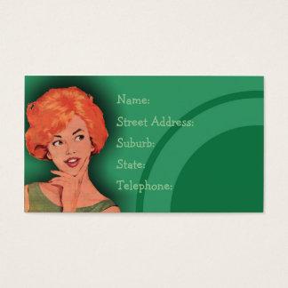 Verde retro Cutesy de la tarjeta de la peluquería