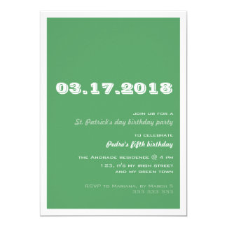 Verde retro de la fiesta de cumpleaños del día del invitación 12,7 x 17,8 cm