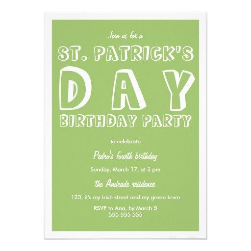 Verde retro de la fiesta de cumpleaños del día del invitación