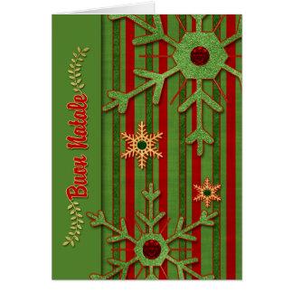 Verde rojo de lengua italiana de Buon Natale del Tarjeta De Felicitación