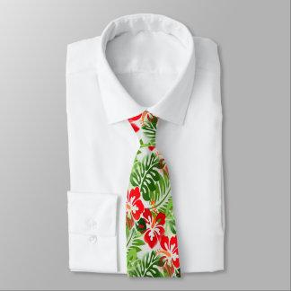 Verde rojo florecido hawaiano del modelo corbatas