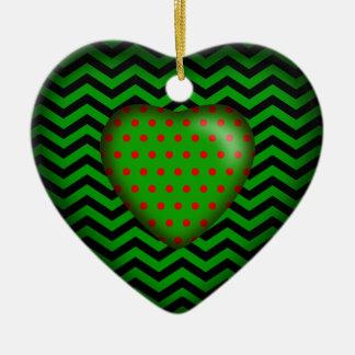 Verde rojo negro del corazón el | del lunar de adorno navideño de cerámica en forma de corazón