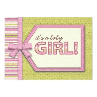 Verde rosado es una fiesta de bienvenida al bebé invitación 12,7 x 17,8 cm
