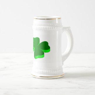 Verde Stein elegante divertido del trébol de la Jarra De Cerveza