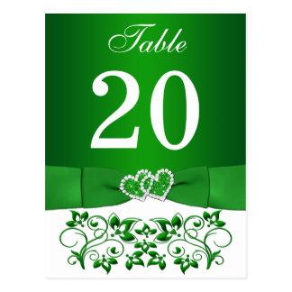 Verde, tarjeta floral blanca del número de la