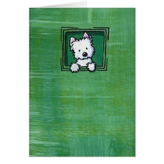 Verde tejido Westie de KiniArt Tarjeta Pequeña