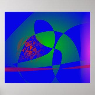 Verde translúcido en fondo azul póster