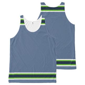 Verde y borde azul marino de neón Azul-Grises Camiseta De Tirantes Con Estampado Integral