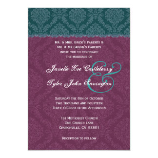 Verde y cordón del damasco de Borgoña que casa Invitación Personalizada
