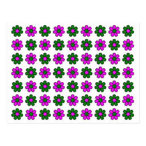 Verde y magenta florece la postal