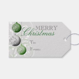 Verde y navidad festivo de la plata etiquetas para regalos
