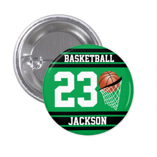 Verde y negro personalizados del baloncesto chapa redonda 2,5 cm
