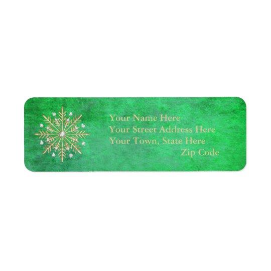 Verde y oro de los copos de nieve del navidad etiqueta de remite