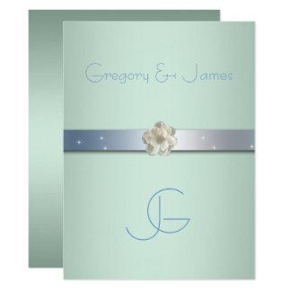 Verde y plata, invitación gay de Seafoam del boda