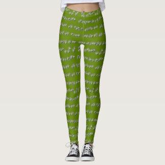 Verde y polainas de los diamantes del chocolate leggings