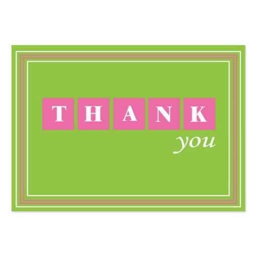 Verde y rosa gracias tarjeta de visita