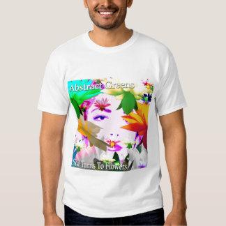 Verdes abstractos - ella da vuelta a las flores a camisetas