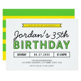 Verdes coloridos y amarillean cualquier cumpleaños invitación 12,7 x 17,8 cm