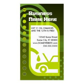 verdes de la lealtad del cambio de aceite tarjetas de visita
