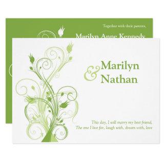 Verdor, invitación floral blanca del boda