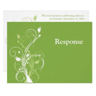 Verdor, tarjeta floral blanca de RSVP que se casa Invitación 8,9 X 12,7 Cm