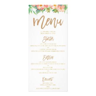Verdor y menú floral de la cena de boda del rosa y
