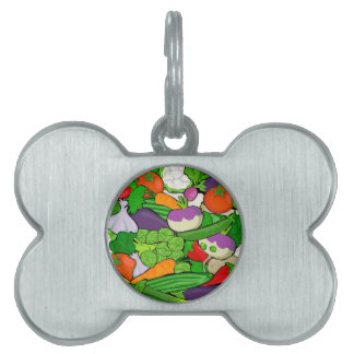 Verduras coloridas del dibujo animado placa para mascotas