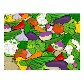 Verduras coloridas del dibujo animado postal