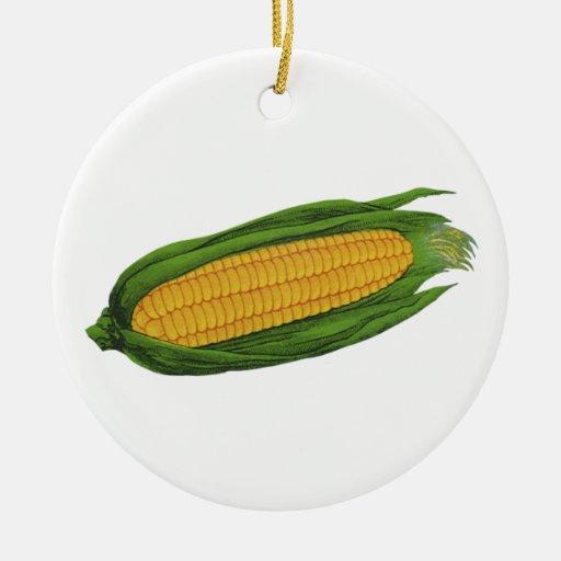 Verduras de la comida del vintage; Maíz en la mazo Ornamento De Reyes Magos