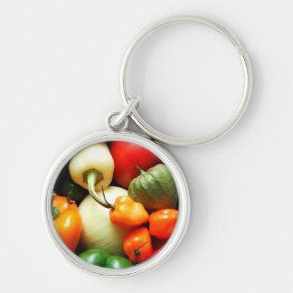 Verduras de la salsa, tomate, pimientas, cebolla llavero redondo plateado