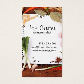 Verduras frescas que abastecen o cocina del tarjeta de visita