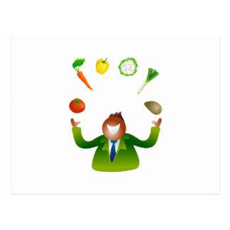 Verduras que hacen juegos malabares del hombre postal