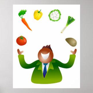 Verduras que hacen juegos malabares del hombre póster