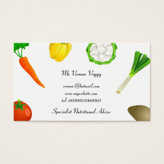 Verduras que hacen juegos malabares del hombre tarjeta de negocios