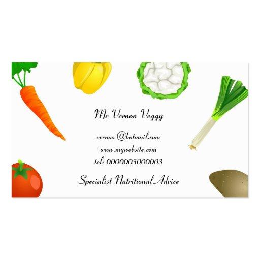Verduras que hacen juegos malabares del hombre tarjeta de visita