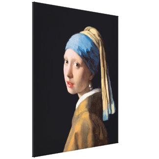 VERMEER - Chica con un pendiente 1665 de la perla Lienzo