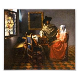 Vermeer el vidrio de la impresión de la foto del v