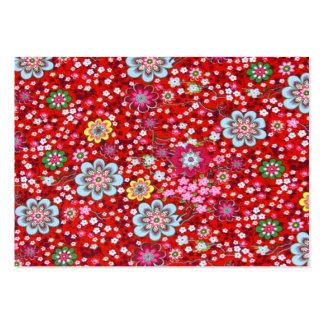vermelho floral del fundo del em del padrão tarjetas de visita grandes