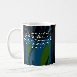 Verso azul/verde de la biblia de la taza del