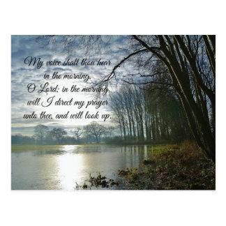 Verso de la biblia de la mañana de oración postal