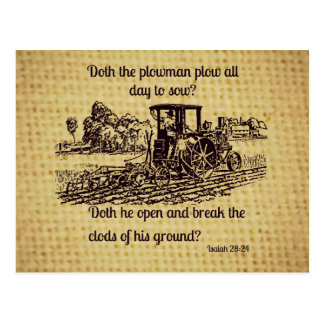 Verso de la biblia de la postal del granjero del
