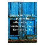Verso de la biblia del 12:12 de los romanos sobre  felicitaciones