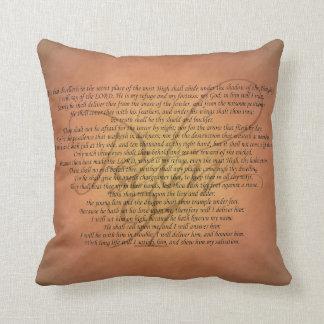 Verso de la biblia del salmo 91 cojín decorativo