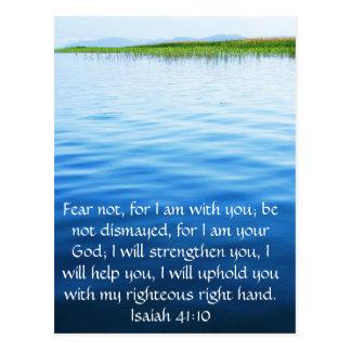 Verso inspirado de la biblia del 41:10 de Isaías Postal