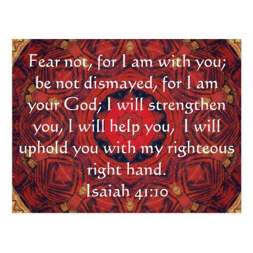 Verso inspirado de la biblia del 41:10 de Isaías Tarjetas Postales
