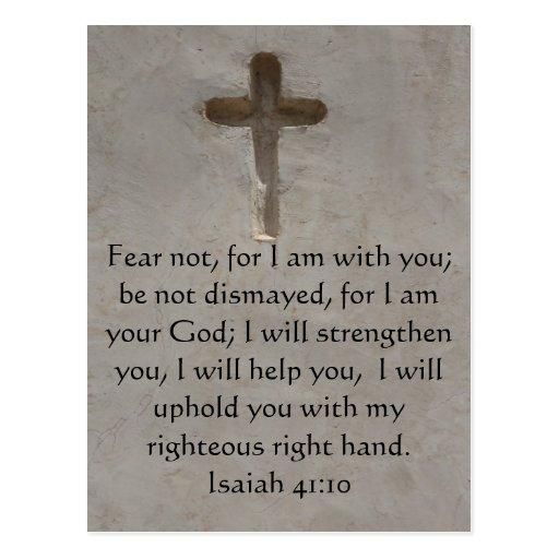 Verso inspirado de la biblia del 41:10 de Isaías Tarjeta Postal