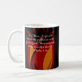 Verso rojo/anaranjado del 5:12 del salmo del taza básica blanca