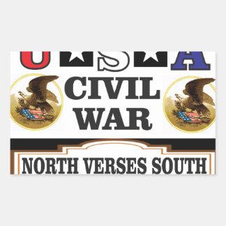 Versos del norte de la guerra civil de los pegatina rectangular