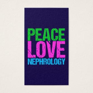 Vertical de la nefrología del amor de la paz tarjeta de visita
