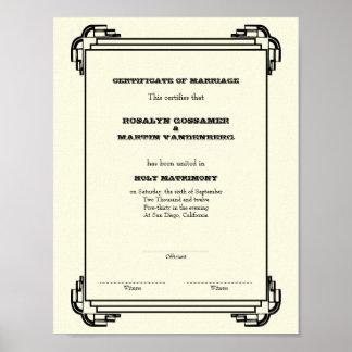 Vertical del certificado del boda del recuerdo del póster